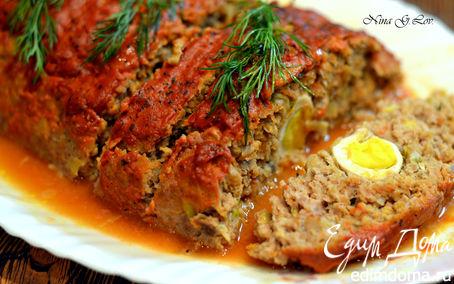 Рецепт Мясная запеканка с грибами и перепелиными яйцами под сливочно-томатным соусом (Meat Loaf)