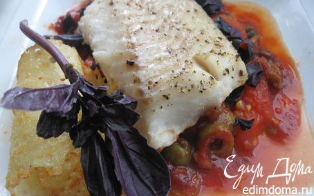 Рецепт Треска на подушке из томатов, базилика и оливок