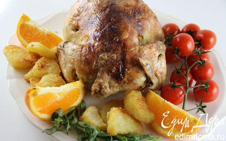 Рецепт Запеченная курица/индейка с апельсином и эстрагоном + очень вкусный запеченный картофель