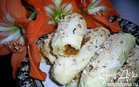 Рецепт Слоистые лимонные рулетики с джемом и орехами