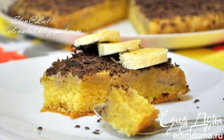 Рецепт Пирог с бананами и сливочно-карамельным соусом и шоколадом