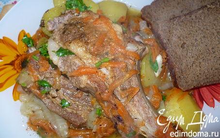 Рецепт Мясо на косточке, тушенное в казане