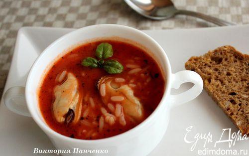 Рецепт Томатный суп с мидиями и рисом