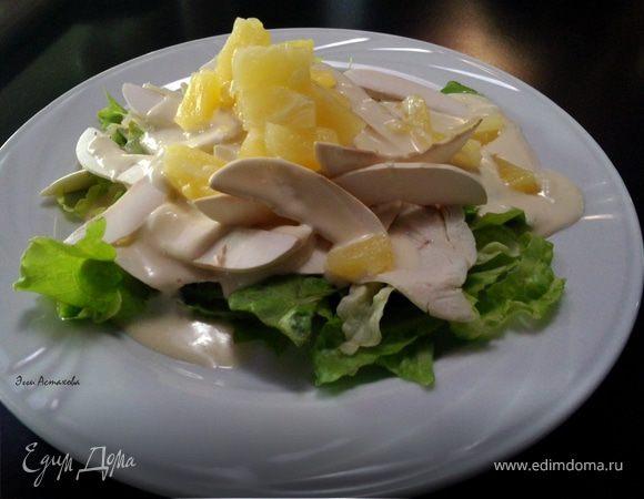 Пикантный салат со свежими шампиньонами