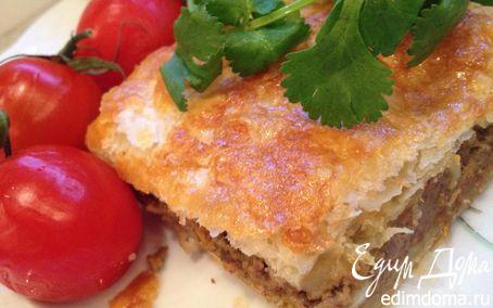 Рецепт Слоеный пирог с паштетом из куриной печени
