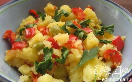 Рецепт Картошка с болгарским перцем, оливками и зеленью