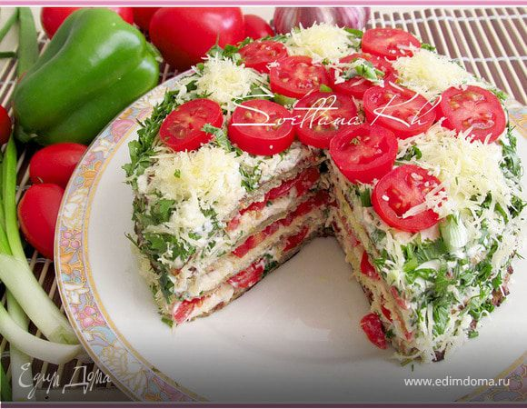 Закусочный баклажанный торт