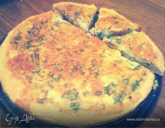 Пирог с зеленым луком и сыром