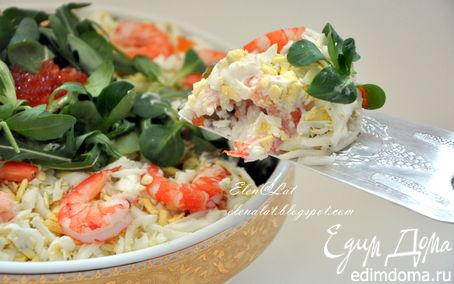 Рецепт Салат с креветками и красной икрой