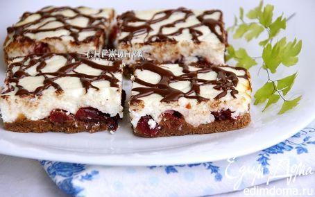 Рецепт Перевернутый шоколадно-творожный пирог с вяленой клюквой