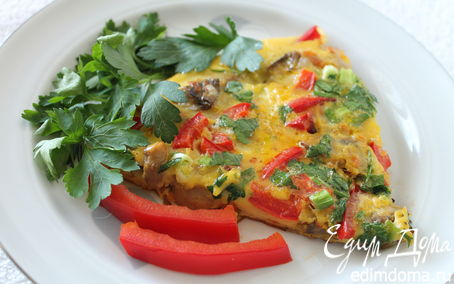 Рецепт Омлет с грибами и болгарским перцем
