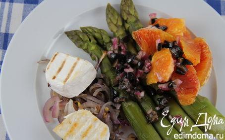 Рецепт Салат из спаржи с красным луком-гриль, козьим сыром и апельсином