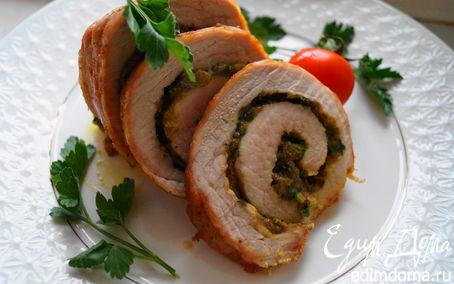 Рецепт Рулет из свинины с сыром и фисташками