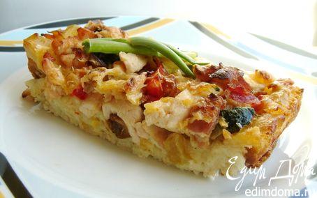 Рецепт Страта с овощами, курицей и грибами