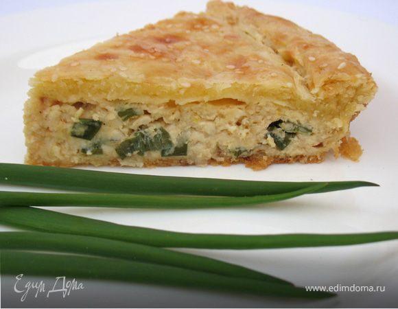 Пирог с луком и плавленными сырками