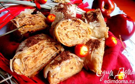 Рецепт Быстрый яблочный штрудель с домашней арахисовой пастой для tatyana