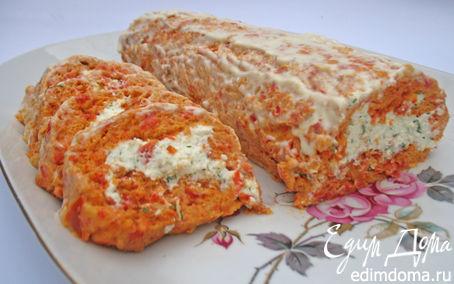 Рецепт Рулет из болгарского перца с творогом и зеленью