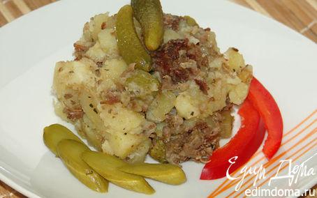 Рецепт Картофель с тушеной говядиной в мультиварке в мультиварке