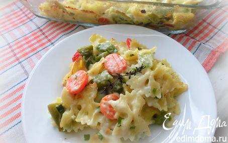 Рецепт Запеканка из макарон с овощами и белым соусом