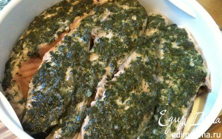 Рецепт Семга под зеленым соусом на пару над картошечкой в мультиварке в мультиварке