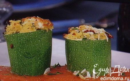 Рецепт Цукини, фаршированные рисом, запеченные под томатным соусом