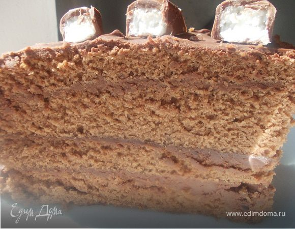 Шоколадный торт со сливками домашнего приготовления