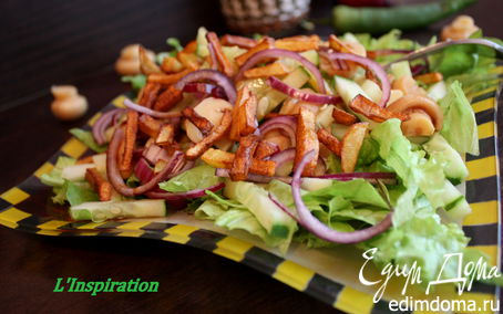 Рецепт Салат с маринованными шампиньонами и картофелем-пай под соевым соусом