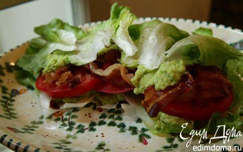 Рецепт Сэндвич из листьев салата, помидоров и грудинки