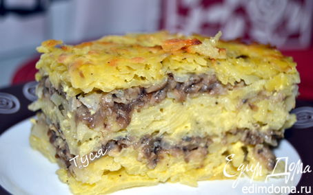 Рецепт Слоеный картофельный торт с солеными грибами