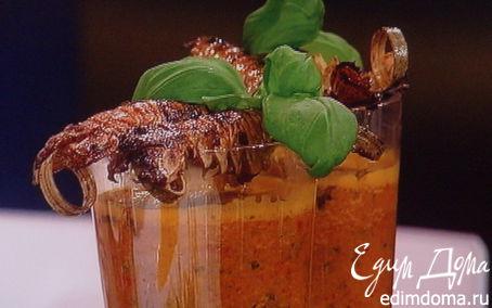 Рецепт Гаспачо из паприки с пикантно замаринованной креветкой