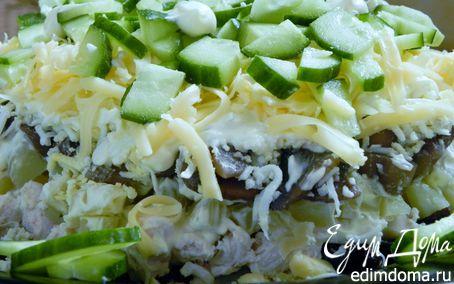 рецепт слоеных салатов с курицей и грибами