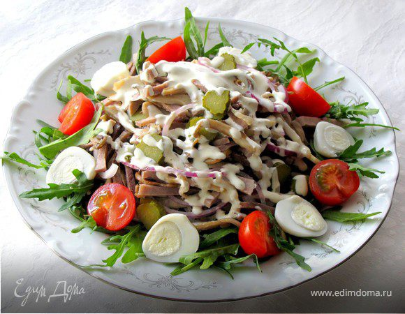 Рецепты с фото салат с языком и кукурузой