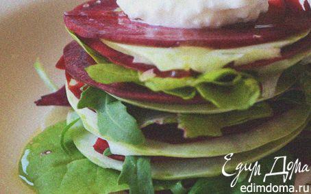 Рецепт Закуска из свеклы и кольраби с домашним сыром и соусом из оливкового масла и лимонного сока