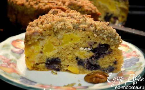 Рецепт Кекс с персиками и голубикой