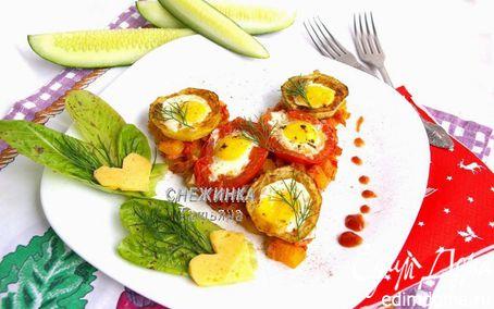 Рецепт «Сердечная» яичница из перепелиных яиц с овощами