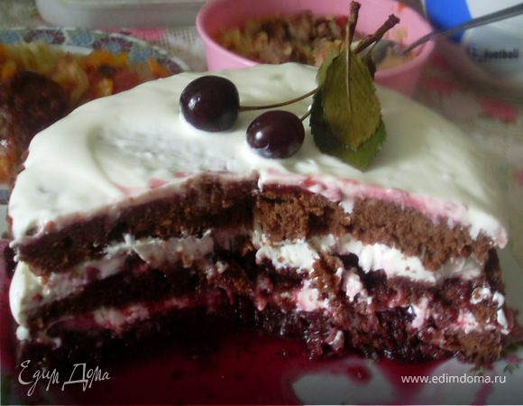 быстрый шоколодный тортик с вишней