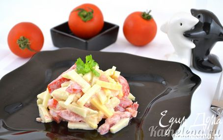 Рецепт Салат из помидора, сыра и яблока