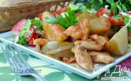 Рецепт Куриное филе с грушами в винном соусе