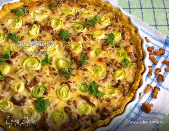 Открытый пирог с лисичками и цукини на ароматном тесте (для Натальи и Команды ЕД)