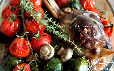 Рецепт Баранина, запеченная с шампиньонами и брюссельской капустой