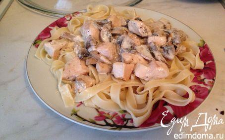 Рецепт Паста с шампиньонами и курицей в сливочном соусе