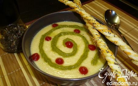 Рецепт Суп-пюре из чечевицы с курицей и маковыми палочками