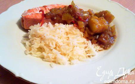 Рецепт Форель с яблочным чатни и рисом