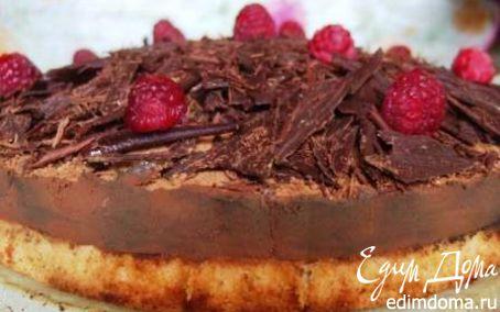 """Рецепт Торт """"Малиновый купол"""" с шоколадным крем-муссом"""