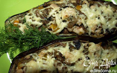 Рецепт Баклажаны, фаршированные грибами, курицей и болгарским перцем