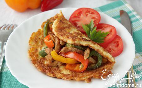 Рецепт Курица стир-фрай на творожно-сырном блинчике