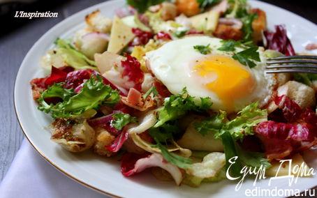 Рецепт Теплый салат с беконом и яйцом