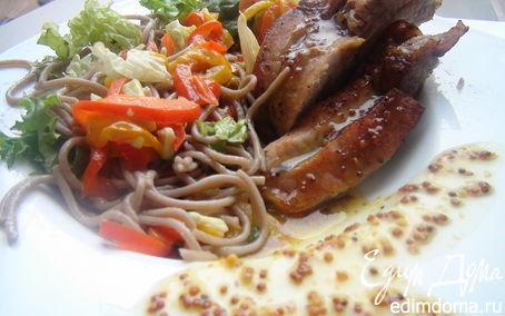 Рецепт Свиные ребрышки под медово-горчичным соусом с теплым салатом