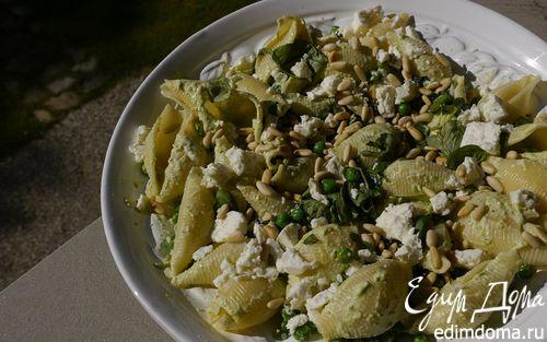 Рецепт Макароны-ракушки с зеленым горошком, шпинатом и фетой