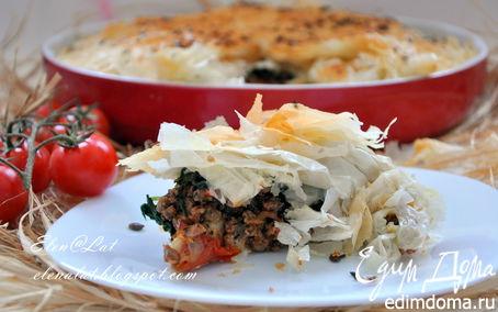 Рецепт Пирог с бараниной, помидорами и тестом фило